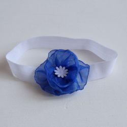 Opaska niemowlęca niebieski kwiatek