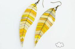Kolczyki Piórka - pastelowe żółcie