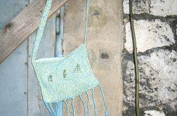 Boho torebka z frędzlami niebiesko-żółta