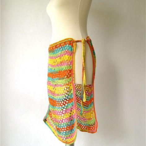 kolorowa ażurowa narzutka na sukienkę, spódnicę, spodnie, legginsy itp.