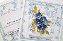 Kartka ROCZNICA ŚLUBU z niebieskimi kwiatami