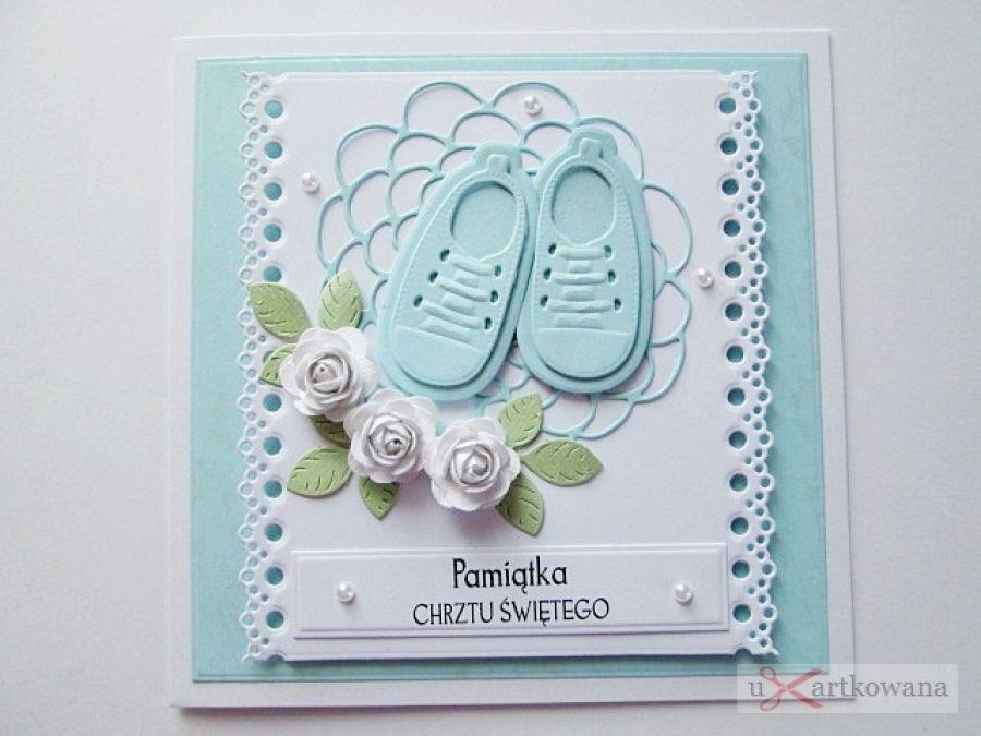 Kartka PAMIĄTKA CHRZTU z bucikami #10 /Z - Niebiesko-biała kartka na Chrzest z bucikami