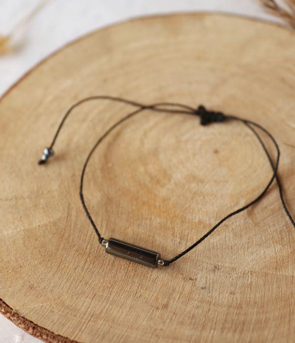 Czarna bransoletka z hematytem - Hematyt na delikatnym sznureczku