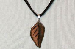 Wisior ceramiczny - liść, brąz