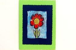 Kartka zielona z kwiatkiem 15
