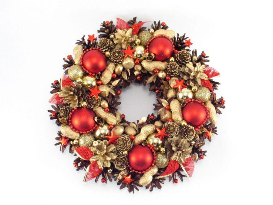 Wianek bożonarodzeniowy czerwono złoty