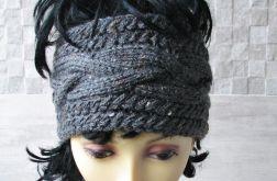 Szeroka opaska na głowę, stalowa tweed.