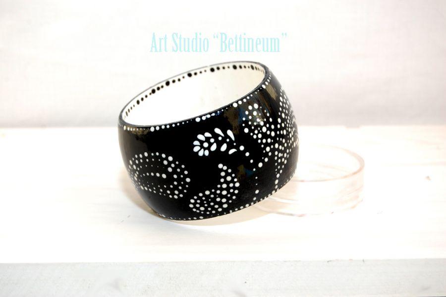 """Bransoletka ręcznie malowana """"Black&White"""""""