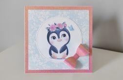 Kartka na Roczek ręcznie robiona pingwinek