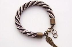 Bransoletka wąż czarno-beżowo-fioletowa1