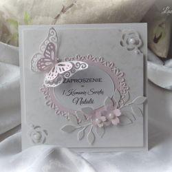 Zaproszenie komunijne pudrowy róż