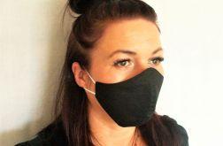 Maska Maseczka Bawełniana Dwuwarstwowa Czarna