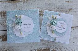 Kwiatowa kartka ślubna z pudełkiem Az5