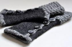 rękawiczki mitenki ciemne szare