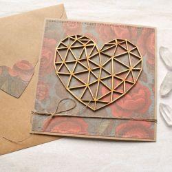 kartka ślubna, miłosna - geometryczne serce