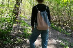 Worek /plecak pudrowy róż-szary