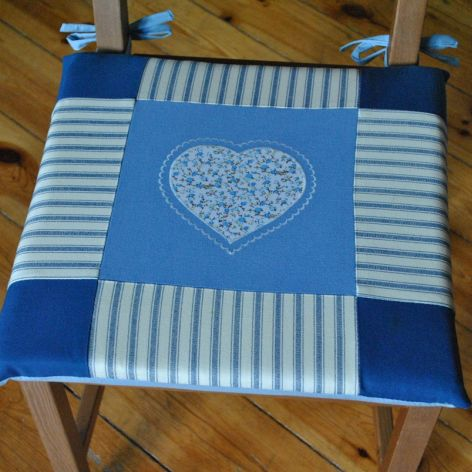 Poduszki na krzesła,siedziska- serce błękitne 4szt
