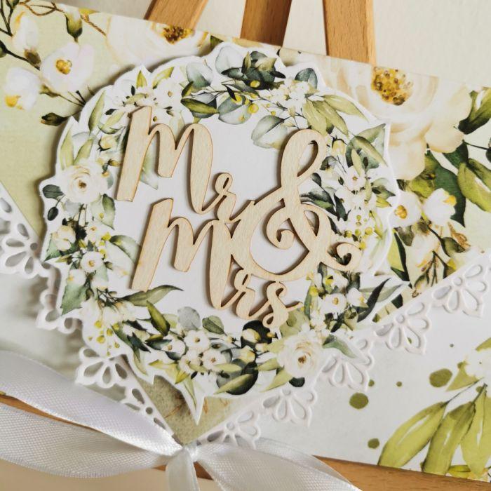 Kartka ślubna kopertowa kopertówka floral XV Mr&Mrs - Mr & Mrs