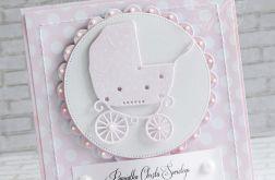 Kartka dla dziewczynki -wózeczek