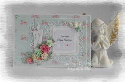 Pamiątka chrztu róż i turkus #1