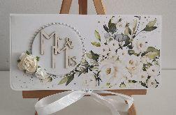 Kartka ślubna Mr & Mrs kwiaty elegancka