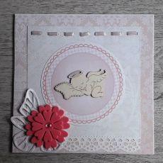 Kartka na Chrzest różowa z aniołkiem handmade