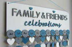 Kalendarz rodzinny, kalendarz urodzin, drewniany kalendarz, dowolne kolory i napisy