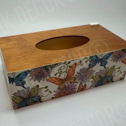 Pudełko prostokątne na chusteczki MOTYLE I KWIATY