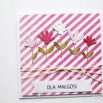 Kartka UNIWERSALNA biało-różowe paski - Kartka Uniwersalna biało-różowe paski