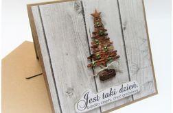 Kartka bożonarodzeniowa z choinką -drewno