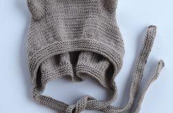 czapeczka bonetka bawełna/merino brąz