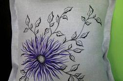 Poszewka dekoracyjna z szarego lnu