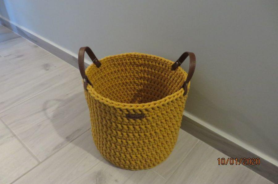 Koszyk ze sznurka z uchwytami musztardowy