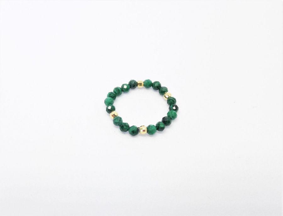 Pierścionek elastyczny - malachit