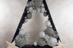 Czarna drewniana choinka hand made LED