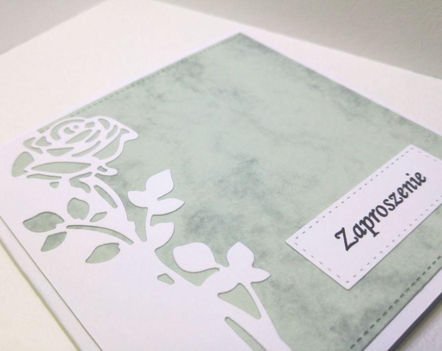 Zaproszenie z różą nr 2 - biała róża