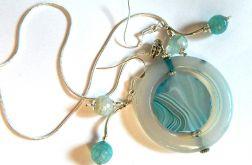 Błękitne agaty i srebro, zestaw biżuterii