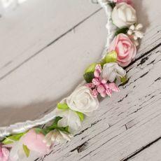 Wianek komunijny biało różowy Komunia