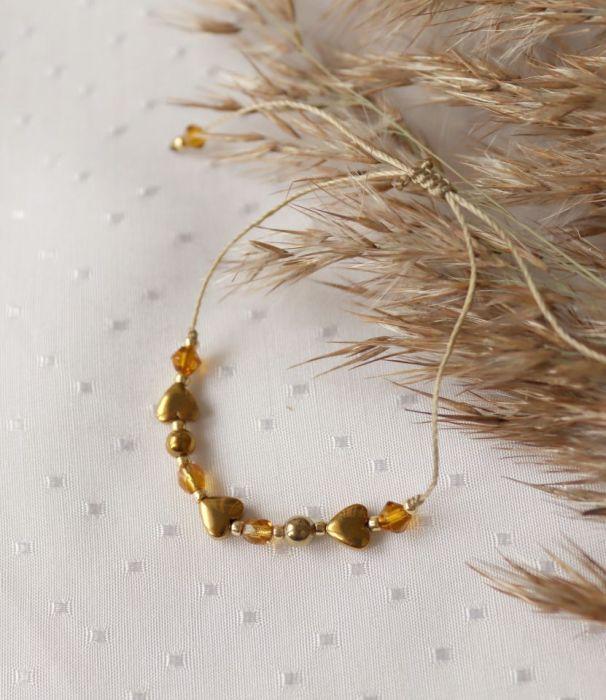 Bransoletka z serduszkiem hematytu - Bransoletka na rękę z kamieniami