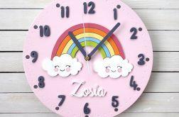 Zegar dla dziewczynki z chmurkami i tęczą