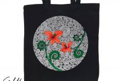 Czerwone kwiaty - torba z nadrukiem czarna