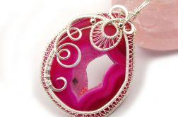 Srebrny wisior z agatem geodą różowy