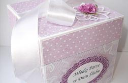 Fioletowe pudełko dla Młodej Pary - kartka ślubna