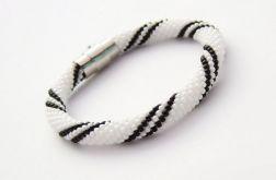 Bransoletka wąż biało-czarna1