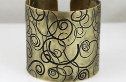 Mosiężna bransoleta - zawijasy- szeroka
