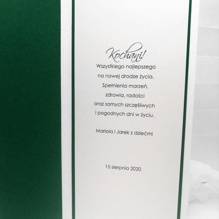 Kartka na ślub skromna zielone liście -