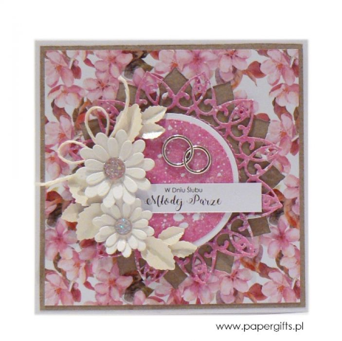 Kartka ślubna białe i różowe kwiaty - Kartka na prezent ślubny różowe kwiaty