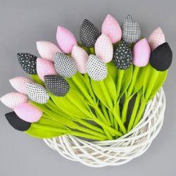 Tulipany szyte, różowo czarne