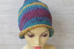 Super gruba czapka zimowa kolorowa