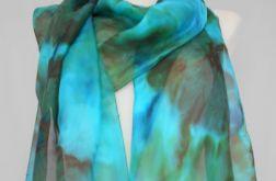 Szal Jedwabny Zielono-brązowy 220 x 35 cm